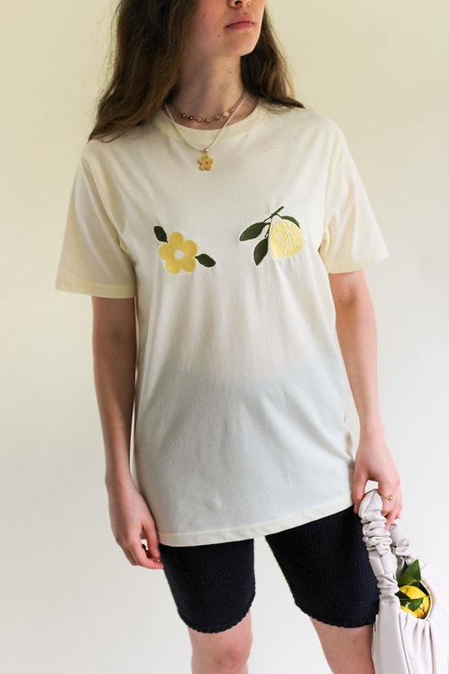 Blooming Lemon Organic Butter Yellow T Shirt by Nude Ethics