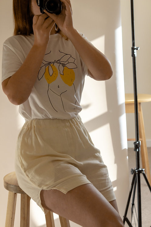 Lemon Nude Organic White T Shirt by Nude Ethics