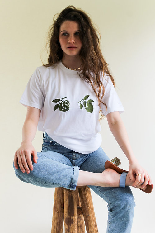 Limes in Bloom Organic White T Shirt by Nude Ethics