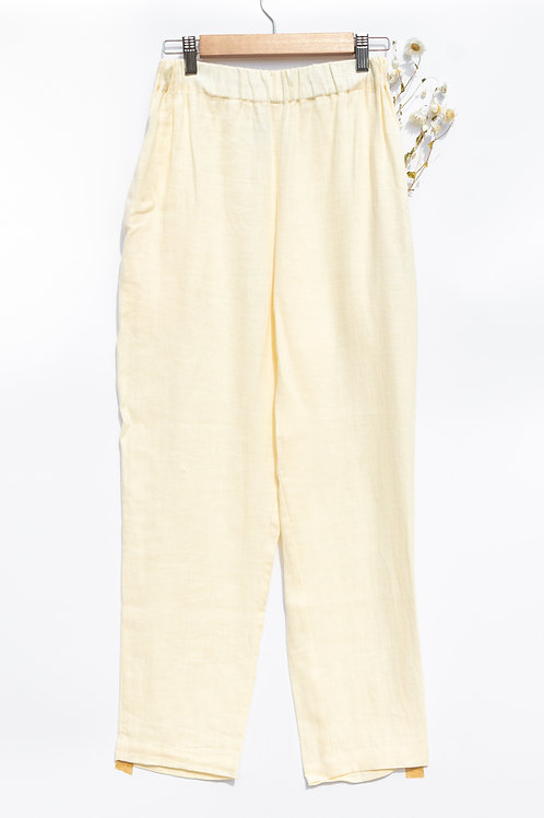 Ivory Linen Cropped Trousers by OffOn - Large