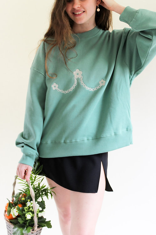 Daisy Chain Organic Sage Thick Jumper by Nude Ethics