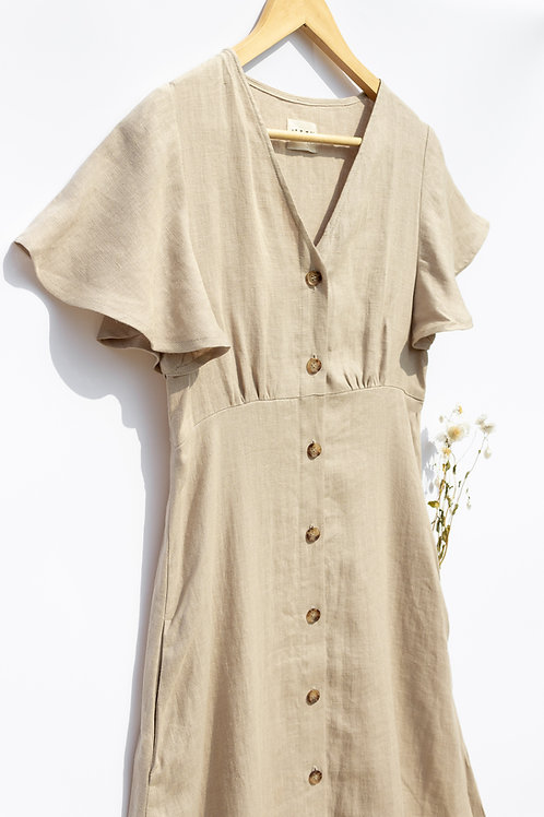 Organic Linen Beige Dress by OffOn - Large