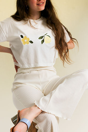 Nude Ethics Ethical clothing Uk - Spring Summer organic illustrated lemon flower fruity lime t shirt and jumper collection