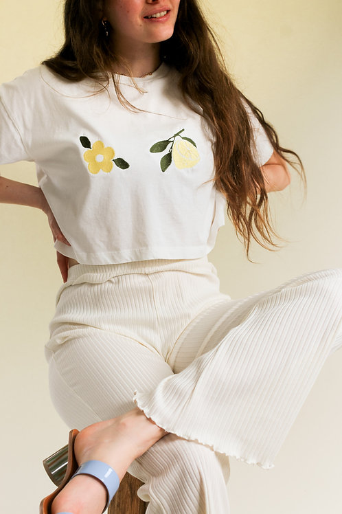 Blooming Lemon Organic White Cropped T Shirt by Nude Ethics