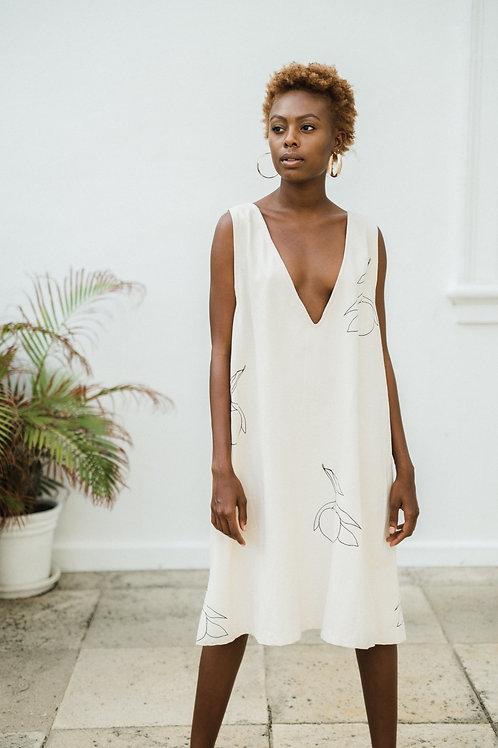 Pamela Illustrated V Neck Beige Dress