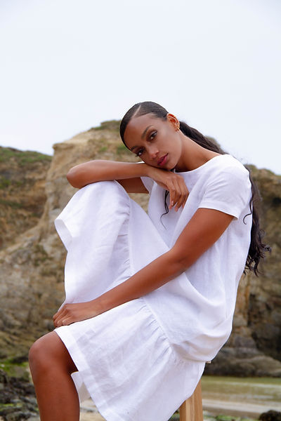 Ethical and affordable linen dresses and jumpsuits by brand Offon sold by Nude Ethics