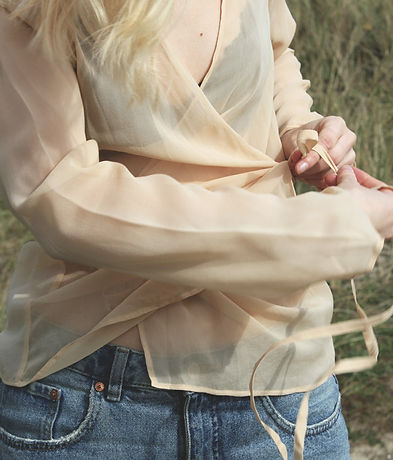 Nude Ethics ethical and ecological clothing collection - image of beige silk