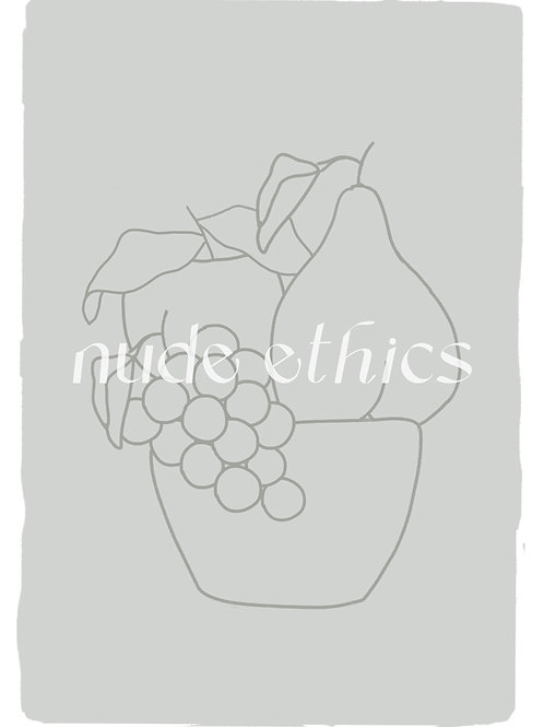 Fruit Bowl in Green Grey - Digital Print by Nude Ethics