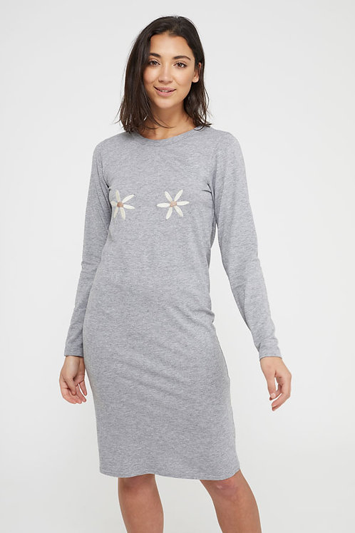 Daisies Organic Grey Midi Dress by Nude Ethics