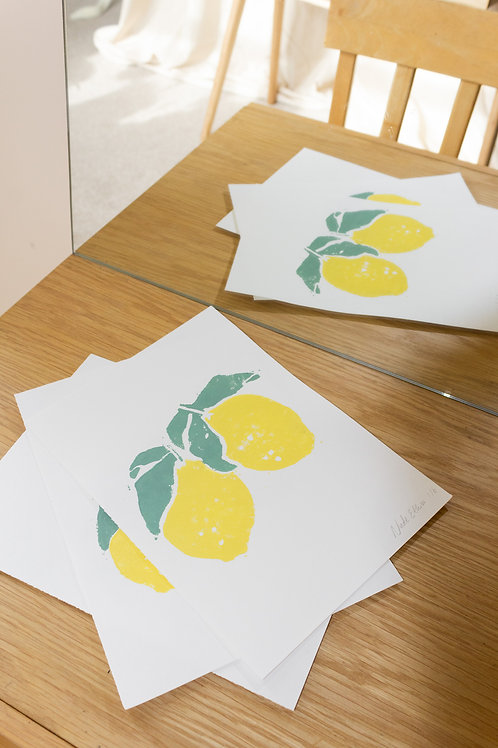 Lemon - Lino Print by Nude Ethics
