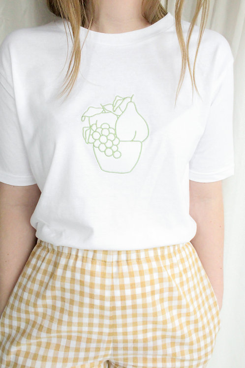 Fruit Bowl in green Organic White T Shirt by Nude Ethics