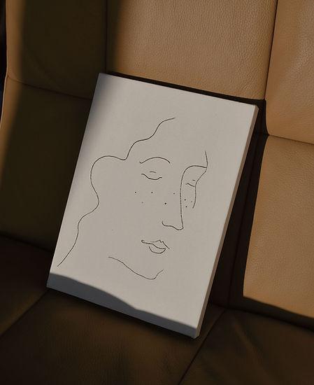 Sleeping Girl minimalist portrait illustrative painted canvas by Nude Ethics