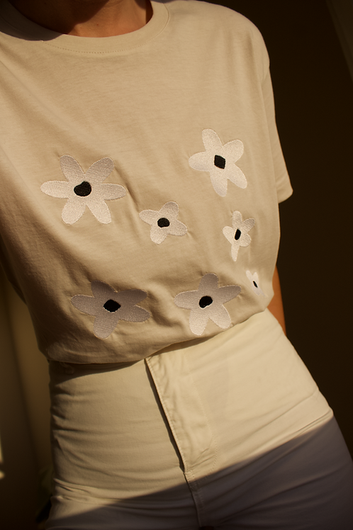 Daisies Organic Light Beige T Shirt by Nude Ethics