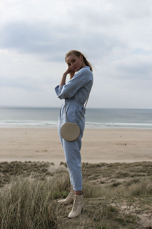 Blue Long Sleeve Linen Jumpsuit by OffOn