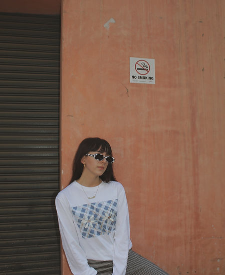 Daisies Gingham Check ecological ladies ethical organic cotton t shirt clothing by Nude Ethics worn by blogger