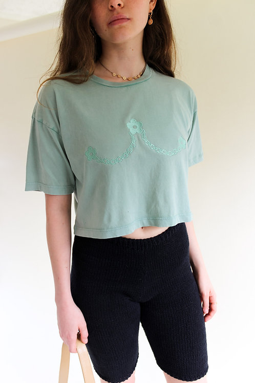 Daisy chain Organic Sage Cropped T Shirt by Nude Ethics