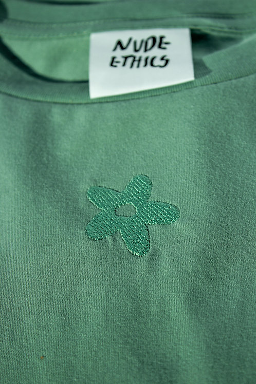 SAMPLE Mini Daisy Organic Sage Green T Shirt by Nude Ethics - SMALL