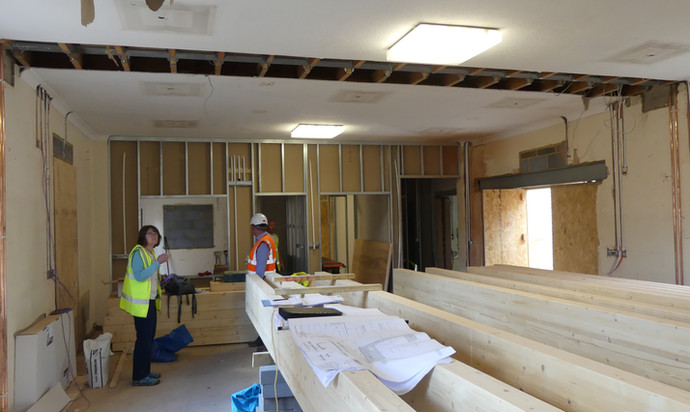 View towards the new kitchen