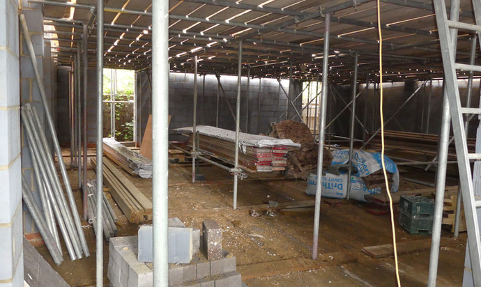 New worship space (under scaffolding)