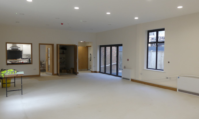 The Hub looking towards the doors to the outside space