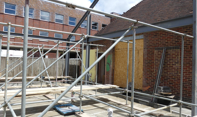 Scaffolding and floor