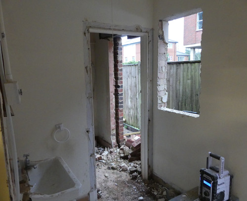 Former loo during conversion to storage room