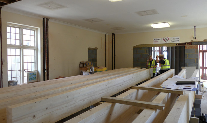 Roof beams for the new worship area