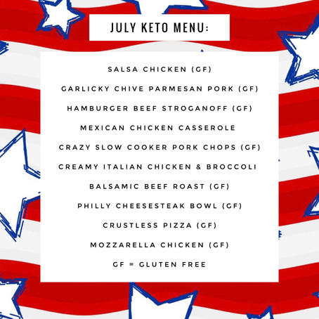 KETO Menu - July 2019