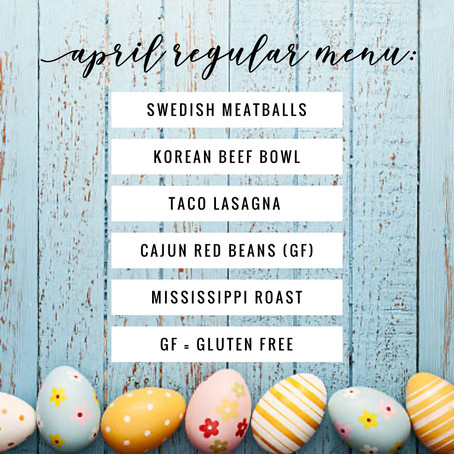 Regular Menu - April 2020