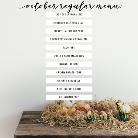 Regular Menu - October 2019