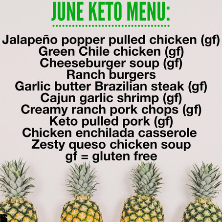 KETO Menu - June 2019