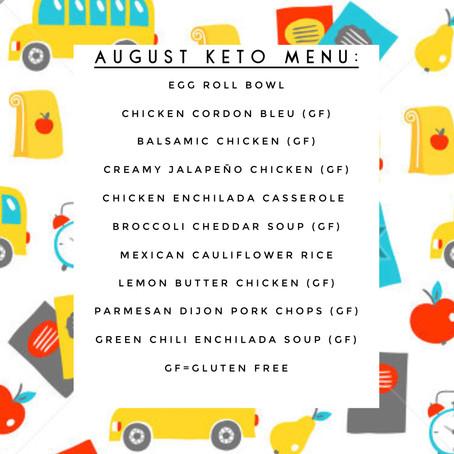 KETO Menu - August 2018