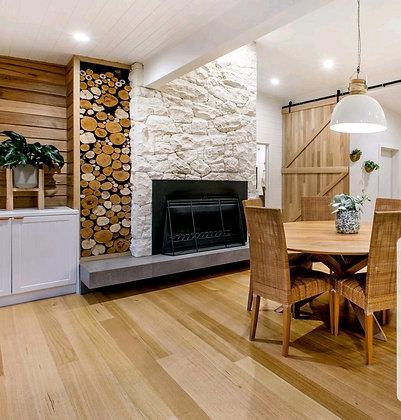 Shell Tuscan limestone fireplace room