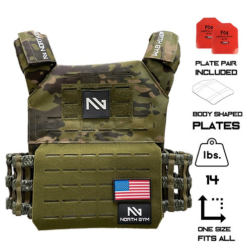 North Gym Weight Vest Green Camo 14lbs