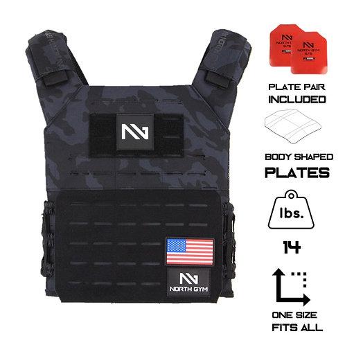 North Gym Weight Vest Black Camo 14lbs