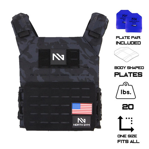North Gym Weight Vest Black Camo 20lbs