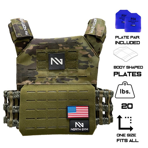 North Gym Weight Vest Green Camo 20lbs