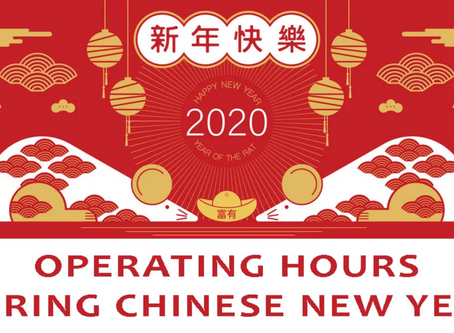 Operating hours during Chinese New Year 2020