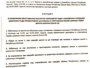 Obavijest o zatvaranju škole na period od 21 dan zbog virusa COVID-19