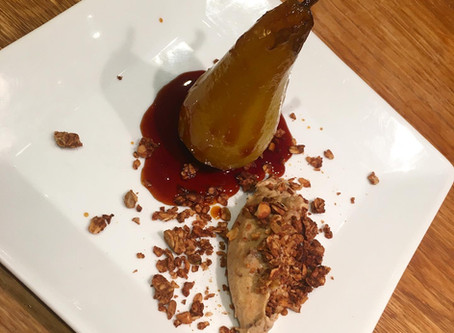 Saffron and Vanilla Poached Pears with Date and Coconut Cream (vg)
