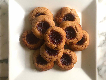 Thumbprint Almond Biscuits with Chia Fruit Centres