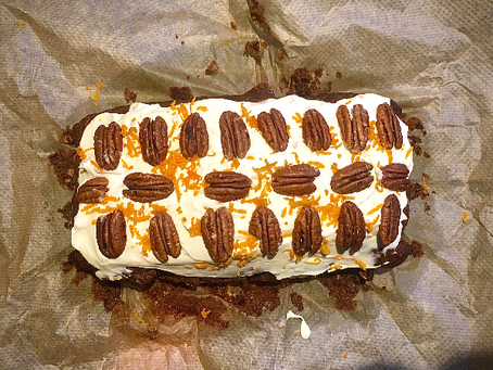 Carrot Cake topped with Mascarpone, Orange and Pecans