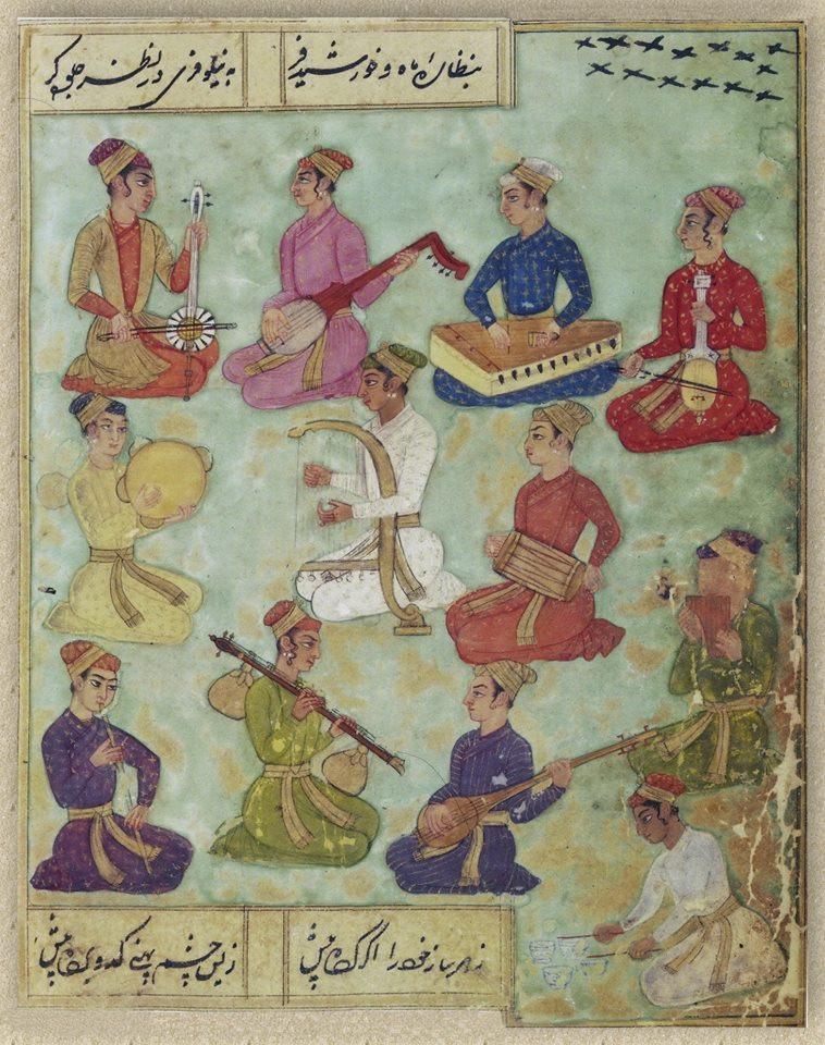 Nur al-Din Muhammad Tahir Zuhuri, 1685: 12 musicians playing sarangi, kupuz, kamancha, drums, panpipes, flute, vina and tambourine. British Library collection: BL Or. 338 f.54v