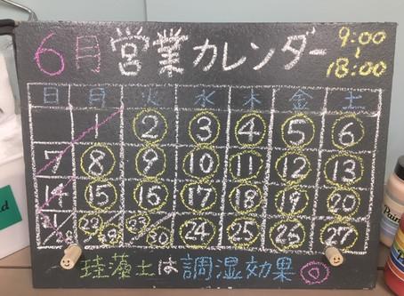 6月営業日カレンダー