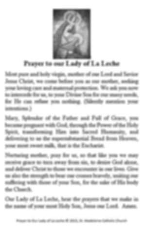 Prayer to our Lady of La Leche.JPG