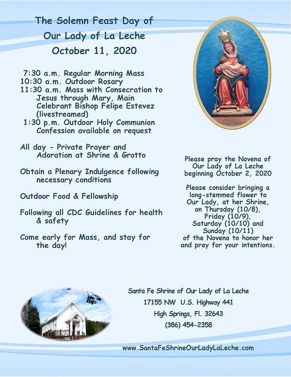 Ourl Lady of La Leche - Feast Day Flyer