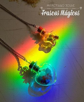 Frascos Mágicos com Cristais dos 7 Chakras