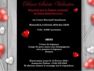 Dîner communautaire pour la Saint-Valentin organisé par la Popote roulante de Saint-Aimé-des-Lacs