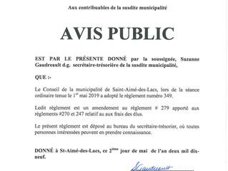 Avis public - Adoption du règlement no 349 relatif aux frais des élus