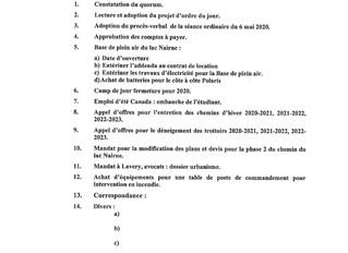 Ordre du jour de la séance régulière du 3 juin 2020 (huis clos)